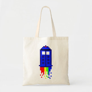 8 Bit Time Travel Budget Tote Bag