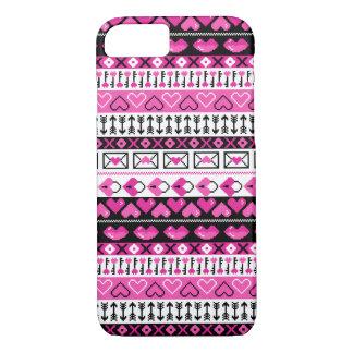 8 Bit Valentines Heart Stripped Pattern  - Pink iPhone 8/7 Case