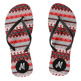 8 Bit Valentines Heart Stripped Pattern  - Red Flip Flops