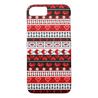 8 Bit Valentines Heart Stripped Pattern  - Red iPhone 8/7 Case