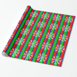 8 bit Video Game Snowflake Wrapping Paper