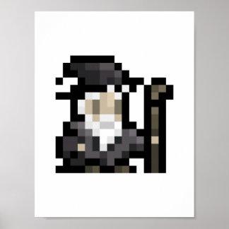8-Bit Wizard 16x16 Sprite Pixel Art Poster