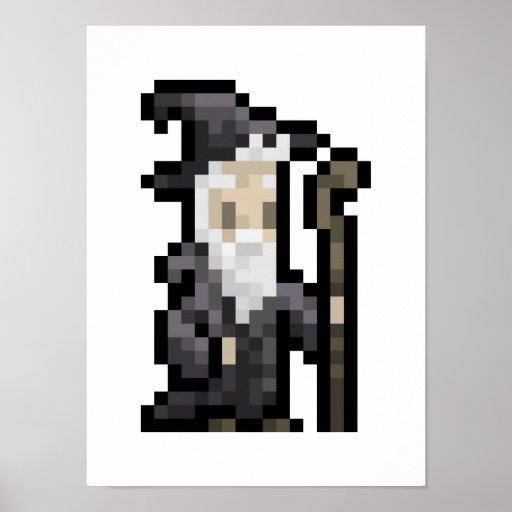 8-bit Wizard Pixel Art Poster