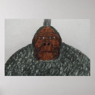 8 ft/244 cm tall grey Yeti ape man giant Poster