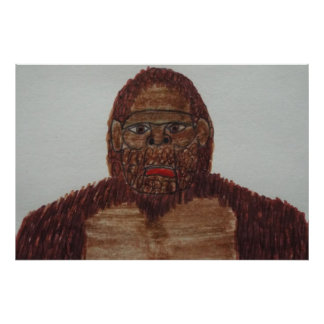 8 ft/244 cm tall Sagittal bigfoot Poster