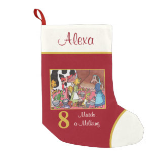 8 Maids a Milking Cute Animals Custom Name Small Christmas Stocking