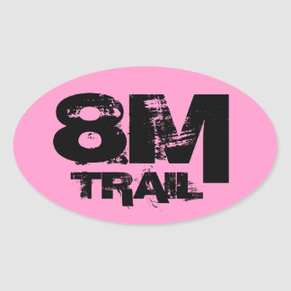 8 Mile Trail Running Oval Decal Black On Pink Oval Sticker