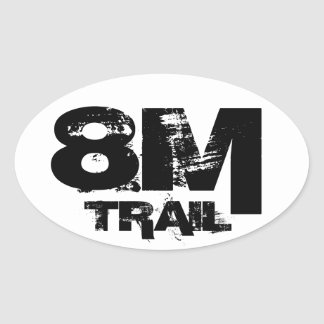 8 Mile Trail Running Oval Decal Black On White Oval Sticker