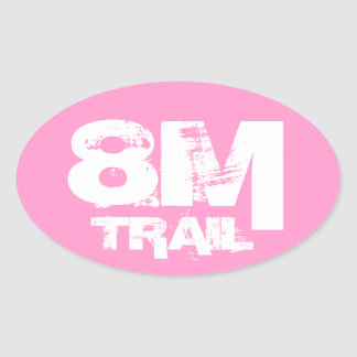 8 Mile Trail Running Oval Decal White On Pink Oval Sticker