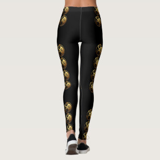 8 Monkeys and more Black Background Leggings