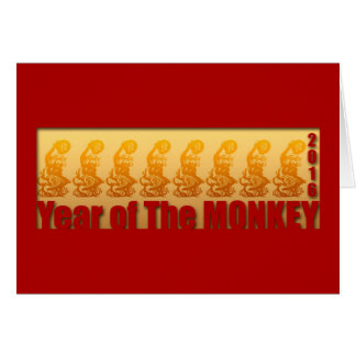 8 Monkeys for Chinese New Year 2016 Greeting 1 Greeting Card