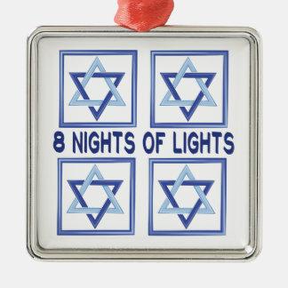 8 Nights Lights Silver-Colored Square Ornament