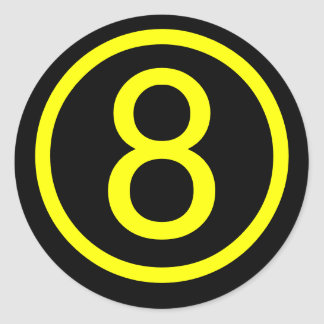8 - number eight classic round sticker
