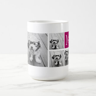 8 Photo Collage Custom Berry Monogram Coffee Mug