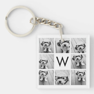 8 Photo Collage Custom Monogram Black and White Keychain