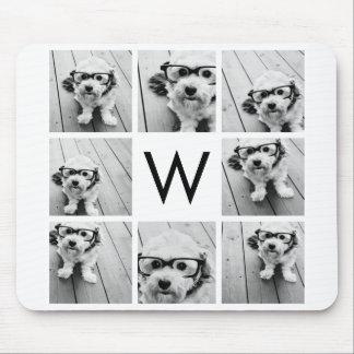 8 Photo Collage Custom Monogram Black and White Mouse Pad