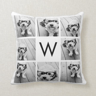 8 Photo Collage Custom Monogram Black and White Throw Pillow