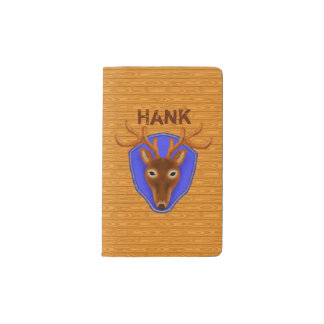 8-Point Buck Deer Hunting Trophy on Wood Grain Pocket Moleskine Notebook