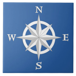 8-Point Compass Rose, White and Cobalt Blue Tile