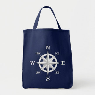 8-Point Compass Rose, White and Navy Blue Tote Bag