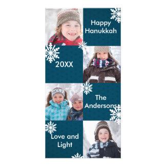 8 Squares Blue Snow - Hanukkah Photo Card