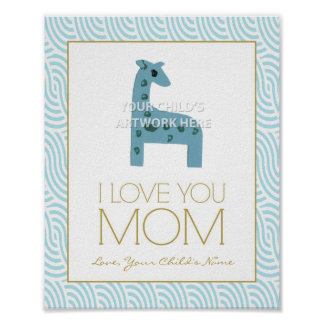 "8""x10"" Wavy Aqua I Love Mom Print"