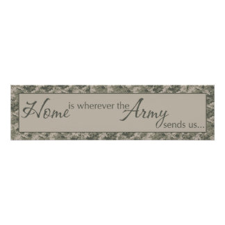 "8""x30"" Home Is Where ARMY Sends Us Wall Art Decora"