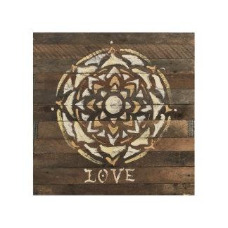 "8""x8"" Mandala Wood Wall Art, ""Love"" Wood Wall Decor"