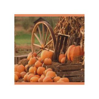 """8""""x8"""" Wood Wall Art-Pumpkins, Wheel Wood Canvas"""