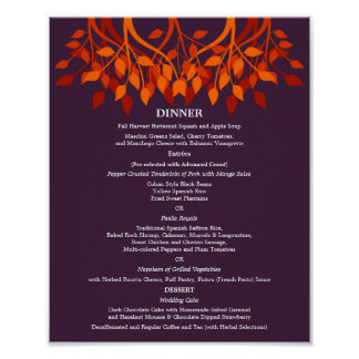 8 x 10 Dinner Table Menu for Framing Poster