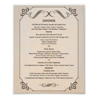 8 x 10 Vintage Linen Table Dinner Menu for Framing Photo Print