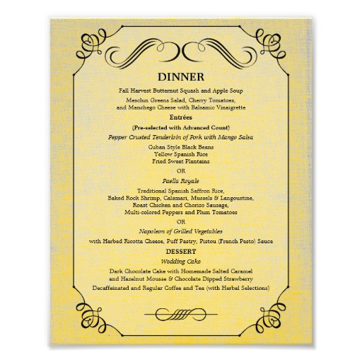 8 x 10 Vintage Linen Table Dinner Menu for Framing Photograph
