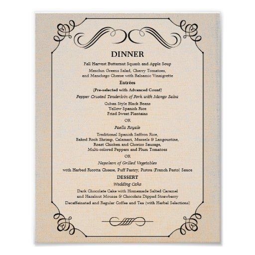 8 x 10 vintage linen table dinner menu for framing