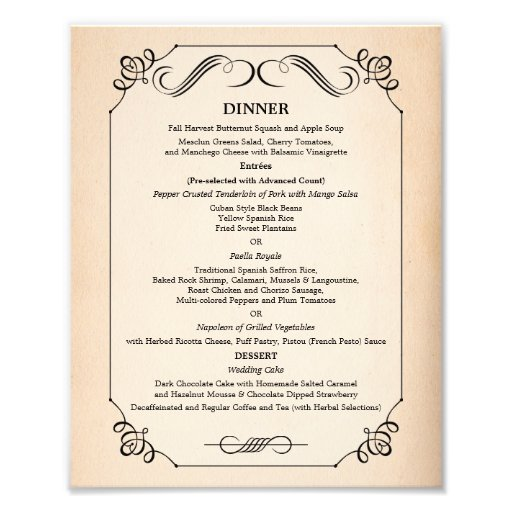 8 x 10 Vintage Paper Table Dinner Menu for Framing Photo