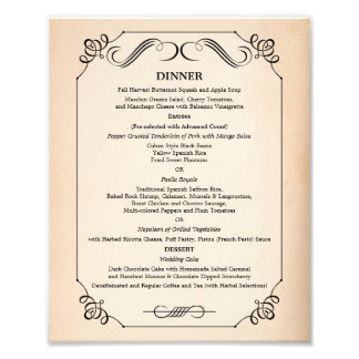 8 x 10 Vintage Paper Table Dinner Menu for Framing Photographic Print