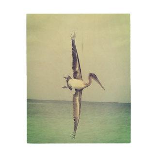 "8"" X 10"" Wood Wall Art Fling Pelican"