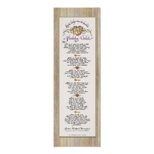 8 x 24 Build a Healthy Child - Barn Wood Fence Poster