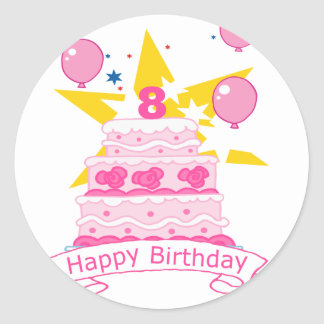 8 Year Old Birthday Cake Classic Round Sticker