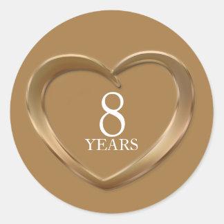 8 years bronze anniversary heart stickers