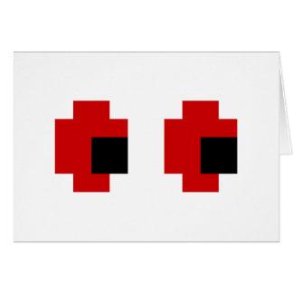 8 yeux rouges éffrayants de bit cartes de vœux