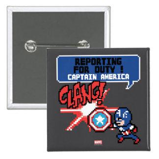 8Bit Captain America Attack - Reporting For Duty! 2 Inch Square Button