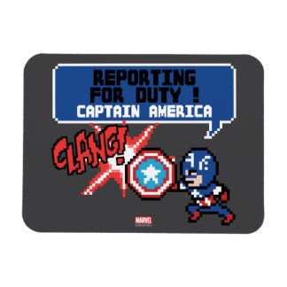 8Bit Captain America Attack - Reporting For Duty! Rectangular Photo Magnet
