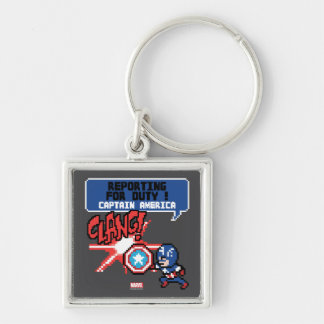 8Bit Captain America Attack - Reporting For Duty! Silver-Colored Square Keychain