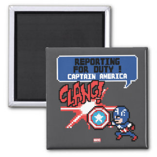 8Bit Captain America Attack - Reporting For Duty! Square Magnet