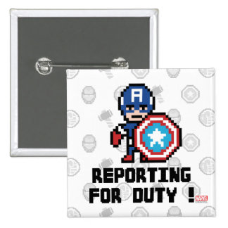 8Bit Captain America - Reporting For Duty! 2 Inch Square Button