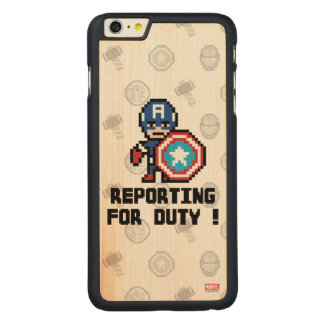 8Bit Captain America - Reporting For Duty! Carved® Maple iPhone 6 Plus Case