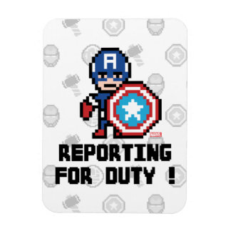 8Bit Captain America - Reporting For Duty! Rectangular Photo Magnet