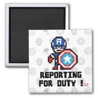 8Bit Captain America - Reporting For Duty! Square Magnet