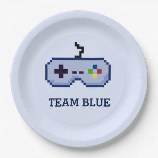 8bit Gamer Gender Reveal Team Blue Paper Plate