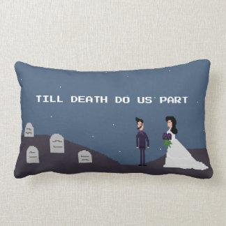 8Bit Gamer Goth - Till Death Do Us Part Pixel Lumbar Pillow